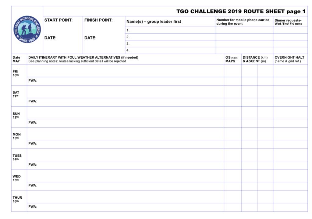 TGO Route Sheet